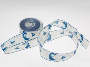 Weihnachtsband Nikolaus mit Draht blau 40 mm