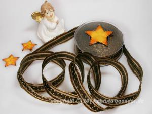 Weihnachtsband Silvretta Braun mit Draht 25mm