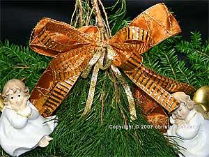 Weihnachtsband Querstreifen Braun/Gold mit Draht 15mm