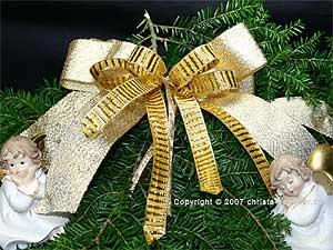 Weihnachtsband Querstreifen Honig/Gold mit Draht 15mm