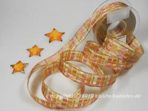 Weihnachtsband Davos Lachs mit Draht 25mm