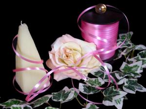 Polyband Rosa ohne Draht 5mm