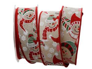 Weihnachtsband Schneemann natur mit Draht 40mm