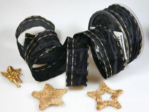 Weihnachtsband Nürnberg Schwarz Gold mit Draht 40mm