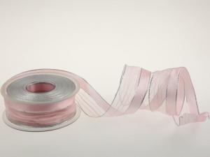 Weihnachtsband Montalgino Rosa mit Draht 40mm - im Bänder Großhandel günstig kaufen!