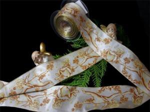 """Weihnachtsband """"Engel"""" Gold mit Draht 70mm"""