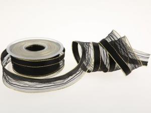 Weihnachtsband Montalgino Schwarz mit Draht 40mm - im Bänder Großhandel günstig kaufen!