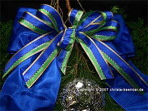 Weihnachtsband Double - Lines Hellgrün/Marineblau 25 mm