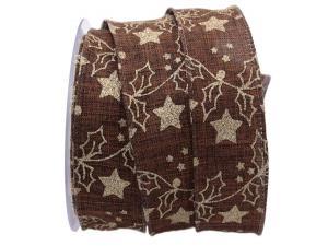 Weihnachtsband Sternenwald braun 40mm mit Draht