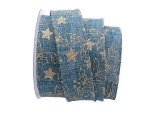 Weihnachtsband Sternenwald blau 40mm mit Draht