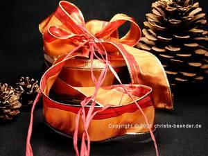 Weihnachtsband Festtagsstreifen Cognac mit Draht 40mm