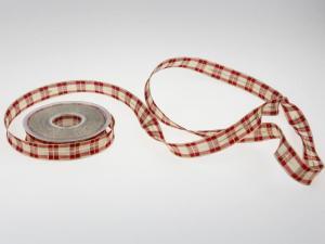 Weihnachtsband Weihnachtskaro rot 25mm mit Draht - Geschenkband günstig online kaufen!