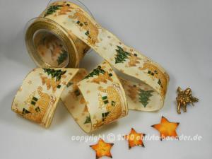 Weihnachtsband Weihnachtsschlitten Honig mit Draht 65mm