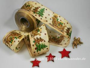 Weihnachtsband Weihnachtsschlitten Braun mit Draht 65mm
