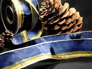 Weihnachtsband Festtagsstreifen Blau mit Draht 40mm