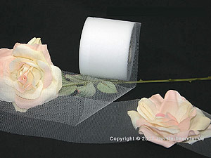 Tüllband Weiß ohne Draht 70mm
