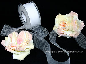 Tüllband Weiß ohne Draht 40mm