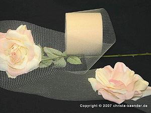 Tüllband Creme ohne Draht 70mm
