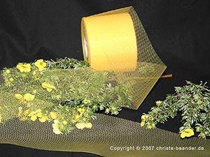 Tüllband Gelb ohne Draht 70mm
