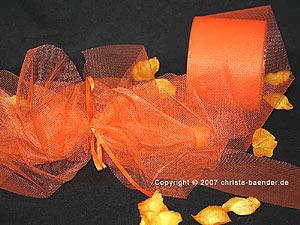 Tüllband Orange ohne Draht 70mm