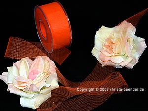 Tüllband Orange ohne Draht 40mm
