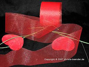 Tüllband Rot ohne Draht 70mm