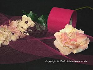 Tüllband Pink ohne Draht 70mm