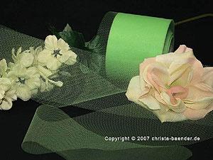 Tüllband Apfelgrün ohne Draht 70mm