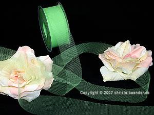 Tüllband Hellgrün ohne Draht 40mm