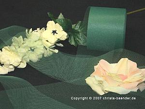 Tüllband Dunkelgrün ohne Draht 70mm