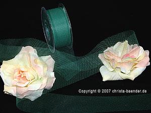 Tüllband Dunkelgrün ohne Draht 40mm