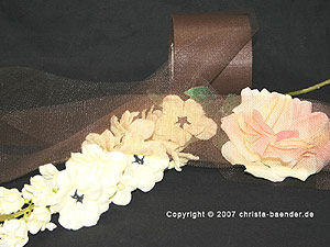 Tüllband Braun ohne Draht 70mm