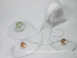 Bändchen Bänderwelle mit Perlenkette Weiß ohne Draht 10mm - im Bänder Großhandel günstig kaufen!