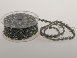 Bändchen Bänderwelle mit Perlenkette Silber ohne Draht 10mm - im Bänder Großhandel günstig kaufen!