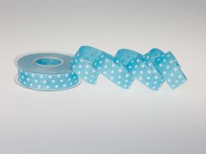 Motivband Punkteband Türkis mit Draht 25mm - Geschenkband günstig online kaufen!