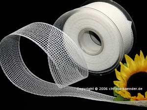 Gitterband Feingitter Weiß ohne Draht 50mm