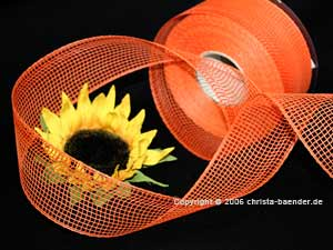Gitterband Feingitter Orange ohne Draht 50mm
