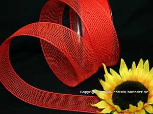 Gitterband Feingitter Rot ohne Draht 50mm