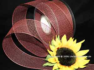 Gitterband Feingitter ohne Draht 50mm Bordeaux/Braun