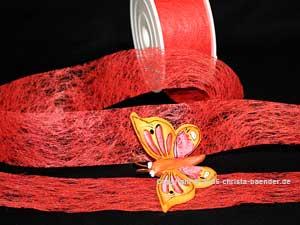 Vliesband Rot ohne Draht 40mm