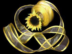 Organzaband Florband Gelb mit Draht 40mm
