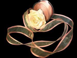 Organzaband Florband Altrosa mit Draht 40mm
