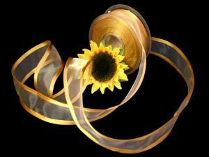 Organzaband Florband Honig mit Draht 40mm