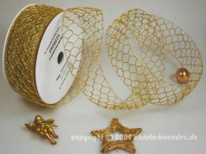 Gitterband Goldgitter Peru Gold ohne Draht 50mm