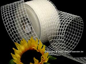 Gitterband Grobgitter Weiß ohne Draht 65mm