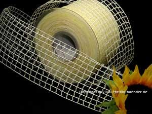 Gitterband Grobgitter Creme ohne Draht 65mm