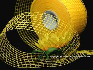 Gitterband Grobgitter Gelb ohne Draht 65mm