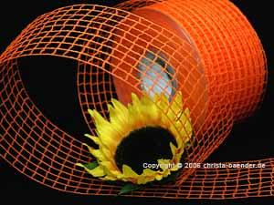 Gitterband Grobgitter Orange ohne Draht 65mm