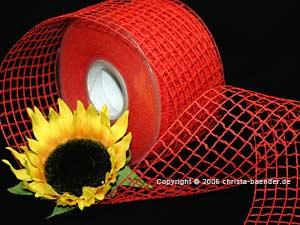 Gitterband Grobgitter Rot ohne Draht 65mm