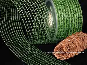 Gitterband Grobgitter Dunkelgrün ohne Draht 65mm